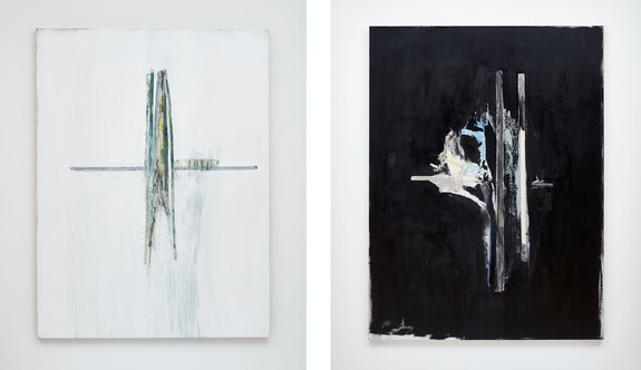 Left: Erik Lindman, <em>Treille</em>, 2020. Acrylic and collaged canvas webbing on linen, 78 3/4 x 59 1/8 inches. Right: <em>Dahlia</em>, 2020. Acrylic and collaged canvas webbing on linen, 78 3/4 x 59 1/8 inches. Courtesy the artist and Peter Blum Gallery, New York. Photos: Jason Wyche.