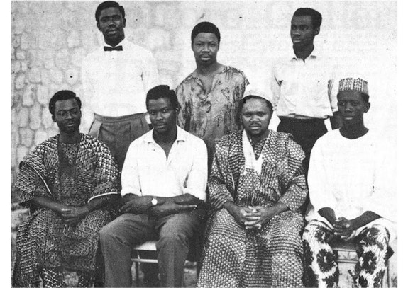 Zaria Art Society/Zaria Rebels, 1958. From left, front row: Bruce Onobrakpeya, Yusuf Grillo, Uche Okeke and Demas Nwoko. Back row: Oseluka Osadebe, Late Nwagbara and Emmanuel Okechukwu Odita, all seven of the eight early members of Society of Nigerian Artists (SNA) . Photo: Bruce Onobrakpeya Foundation.