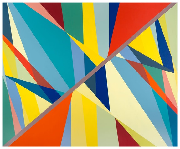 Odili Donald Odita,<em> Great Divide</em>, 2017. Acrylic on canvas, 74 x 90 inches.  Courtesy the artist and Jack Shainman Gallery, New York.