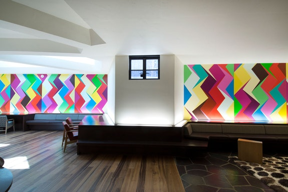 Odili Donald Odita, <em>RISE</em>, 2015. Acrylic latex paint on wall. Commission for Ezra Stiles College, Yale University, New Haven, Connecticut. Courtesy the artist and Jack Shainman Gallery, New York.