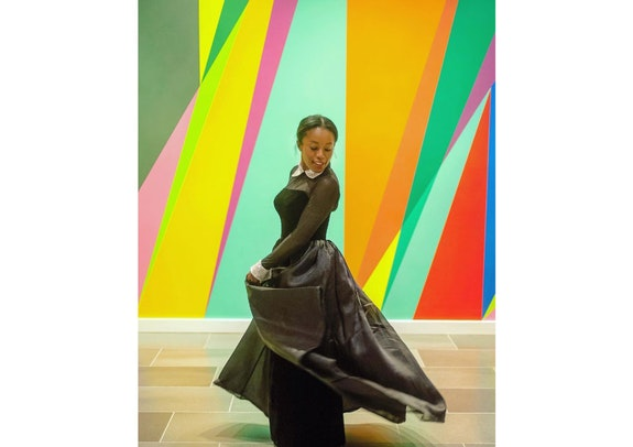 Odili Donald Odita, <em>Shadow and Light (for Julian Francis Abel)</em>, 2015. Acrylic latex paint on wall, Dimensions vary. Commission for the Nasher Museum of Art at Duke University, Durham, North Carolina.