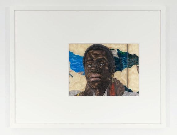 Toyin Ojih Odutola, <em>Nanban</em>, 2020. Colored pencil, graphite, and inkon Dura-Lar, 19 x 24 x 1 1/2 inches. © Toyin Ojih Odutola. Courtesy of the artist and Jack Shainman Gallery, New York.