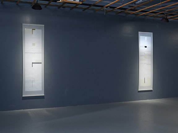 Installation view: <em>Grayson Cox and Joan Waltemath: Apparatus</em>, FiveMyles, New York, 2020. Photo: Farzad Owrang.