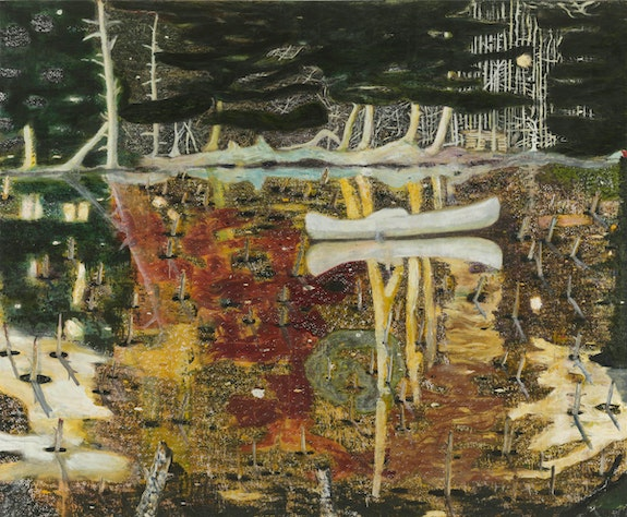 Peter Doig, <em>Swamped</em>, 1990. Oil on canvas, 77 1/2 x 95 inches. © Peter Doig. Yageo Foundation Collection, Taiwan. All rights reserved, DACS & JASPAR 2020 C3120