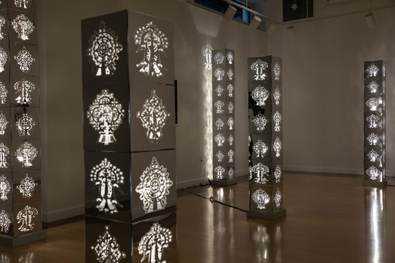 Installation view: <em>Tsedaye Makonnen:  Senait & Nahom. The Peacemaker & The Comforter</em>, 2019. Acrylic mirror, LED light bulbs, wire mesh, MDF, lighting wiring. Courtesy Addis Fine Art, Addis Ababa and London.