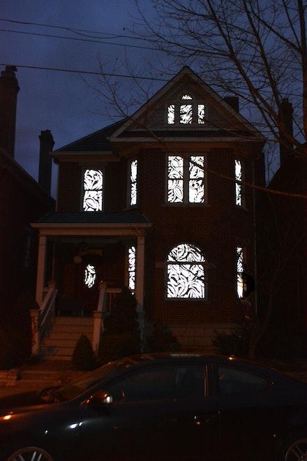 Melissa Vogley Woods, <em>Always</em>, 2020. Hand cut reflective photographic vinyl, tape. Scale of residential house. Neil Ave, Columbus, Ohio. courtesy the artist.