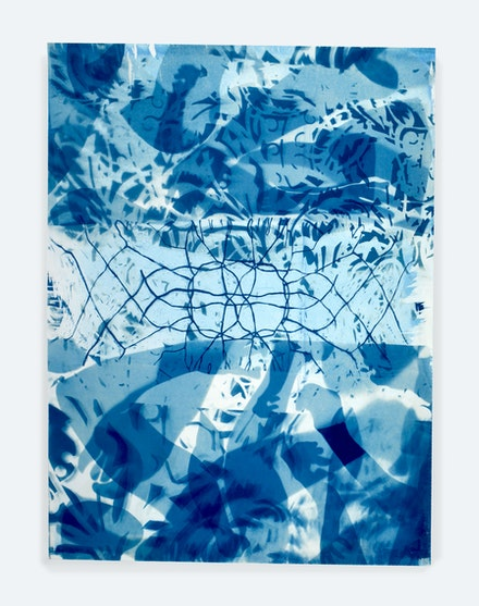 Melissa Vogley Woods, <em>out of the blue #07</em>, 2020. Unique cyanotype photogram print on acid free bristol, 24 x 18 inches. Courtesy Hammond Harkins Galleries.