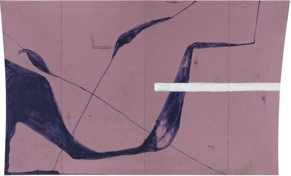 Julian Schnabel, <em>Preschool and Afterschool,</em> 2018. Oil and gesso on found fabric, 128 x 213 ½ inches. © Julian Schnabel / Artists Rights Society (ARS), New York.