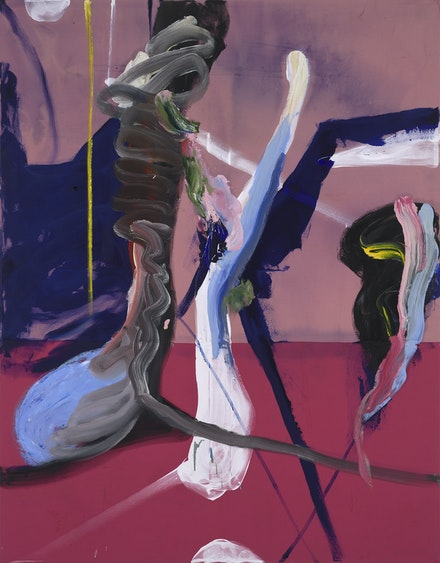 Julian Schnabel, <em>Why not I, </em>2019. Ink and oil on found fabric, 84 x 65 ½ inches. © Julian Schnabel / Artists Rights Society (ARS), New York.