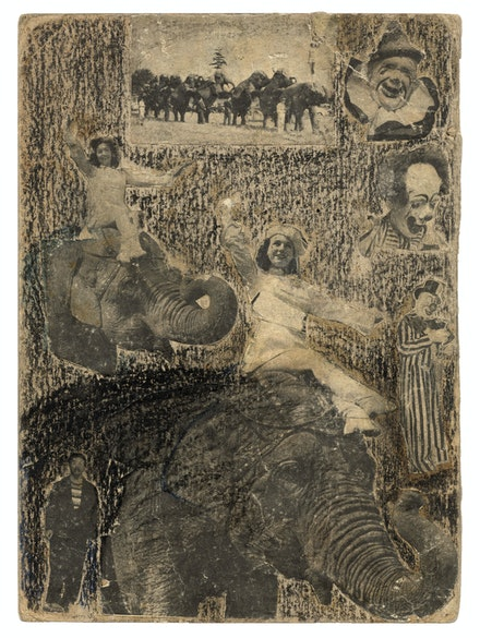 C.T. McClusky, <span><</span>em<span>></span>Untitled<span><</span>/em<span>></span>, ca. late 1940s-mid 1950s. Mixed media and collage on cardboard, 10 x 7 1/4 inches. Courtesy Ricco/Maresca Gallery.