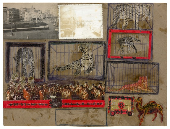 C.T. McClusky, <span><</span>em<span>></span>Untitled<span><</span>/em<span>></span>, ca. late 1940s-mid 1950s. Mixed media and collage on cardboard, 12 x 15 inches. Courtesy Ricco/Maresca Gallery.