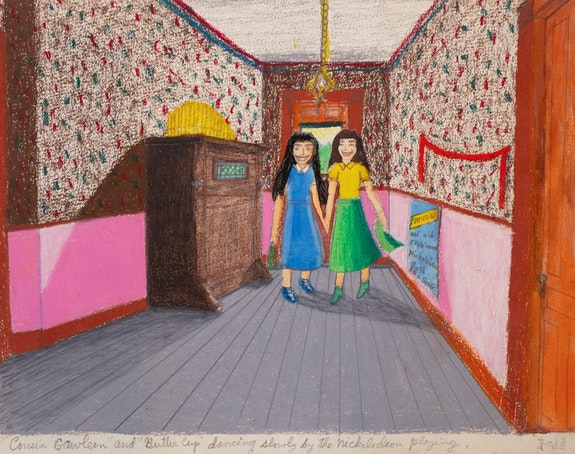"Gayleen Aiken, <em>""Cousins Gawleen"" and ""Butter Cup"" dancing slowly by the nickelodeon playing</em>, 1966. Colored pencil, ballpoint pen, and crayon on paper. 9 x 12 inches. Courtesy the artist and Fort Gansevoort."