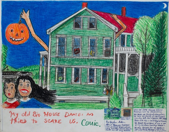 Gayleen Aiken, <em>My old Big House Dances and tried to scare us</em>,1989. Colored pencil, ballpoint pen, and crayon on paper, 11 x 14 inches. Courtesy the artist and Fort Gansevoort.