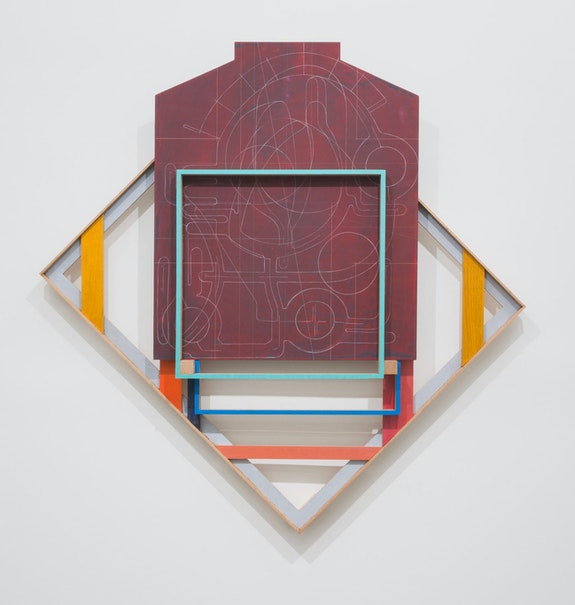 Andrew Lyght, <em>Painting Structures P330</em>, 2018–19. Red oak, paint stick, acrylic, Prismacolor pencil, plywood, nylon cord, 56 x 56 x 5 1/2 inches. © Andrew Lyght. Courtesy Anna Zorina Gallery, New York City.