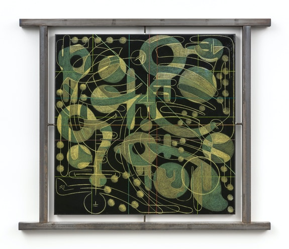 Andrew Lyght, <em>Markings B-2890 Black Square</em>, 1995–96. Rust-oleum enamel, prismacolor pencil, epoxy resin, steel sheathing, steel post, lintel frame, 41 3/4 x 49 3/4 x 1 1/2 inches.  © Andrew Lyght. Courtesy Anna Zorina Gallery, New York City.