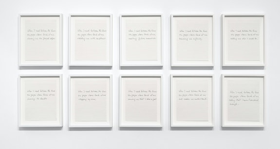 Luis Camnitzer, <em>Between the Lines</em>, 2013. Ink on paper in 10 parts, 11 x 8 1/2 inches each. Courtesy Alexander Gray Associates, New York; Galería Parra & Romero, Madrid. © Luis Camnitzer/Artists Rights Society (ARS), New York.