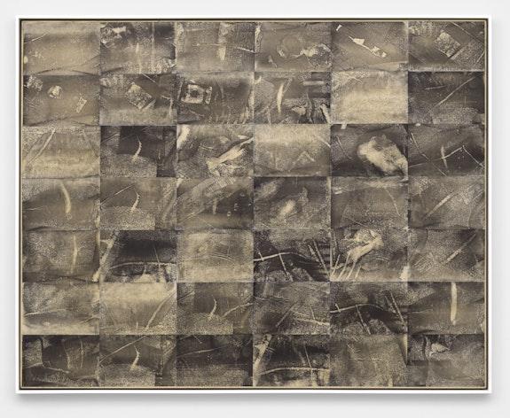 Jack Whitten, <em>Xeroxed!</em>, 1975. Xerox toner on rice paper mounted to canvas, 57 6/8 x 73 inches. Courtesy Alexander Gray Associates, New York. © Jack Whitten Estate.