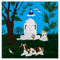 Andrew LaMar Hopkins, <em>The Tomb of America's First Architect Benjamin Henry Latrobe in Creole New Orleans</em>, 2019. Acrylic on canvas board, 12 x 12 inches. Courtesy the artist and Venus Over Manhattan, New York.