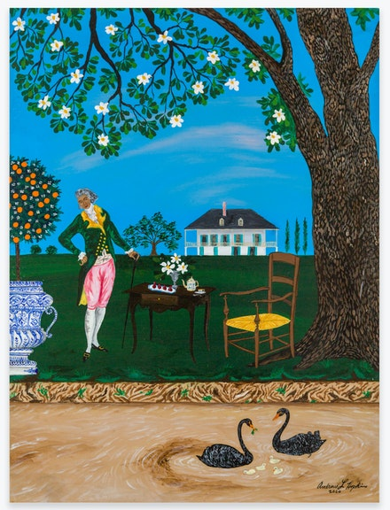 Andrew LaMar Hopkins, <em>Tea and Light Refreshments at the Creole Habitation</em>, 2020. Acrylic on canvas board, 16 x 12 inches. Courtesy the artist and Venus Over Manhattan, New York.