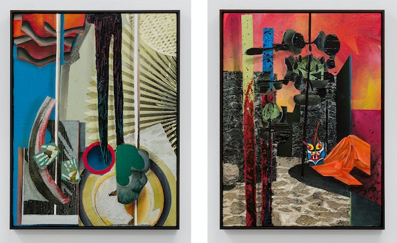 Left: Tjebbe Beekman, <em>Avaritia</em>, 2020. Right: <em>Ira</em>, 2020. Acrylic, sand, and plaster on canvas mounted to wood panels, 32 1/2 x 25 3/8 inches each. Courtesy the artist and GRIMM, Amsterdam and New York.
