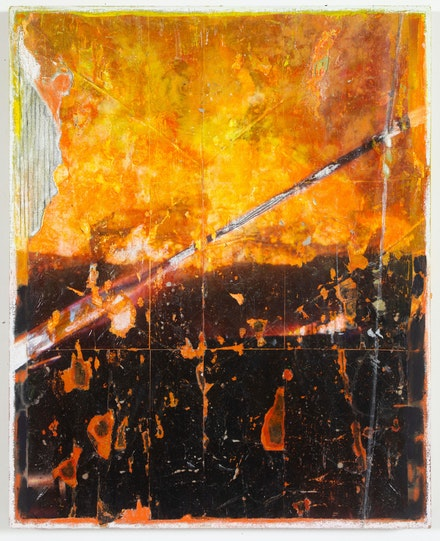 Baris Gokturk, <em>Fires_Riot_005_B</em>, 2020. Image transfer, ink, acrylic and oil on linen, 30 x 24 inches. Courtesy the artist and Helena Anrather, New York.