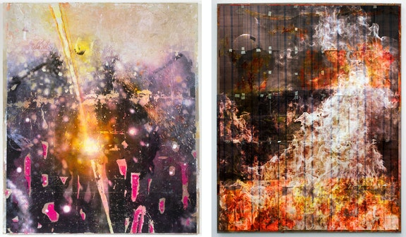 Left: Baris Gokturk, <em>Fires_Riot_006</em>, 2020. Image transfer, ink, acrylic and oil on linen, 80 x 68 inches. Right: <em>Fires_Riot_008</em>, 2020. Image transfer, ink, acrylic and oil on linen, 90 x 68 inches. Courtesy the artist and Helena Anrather, New York.