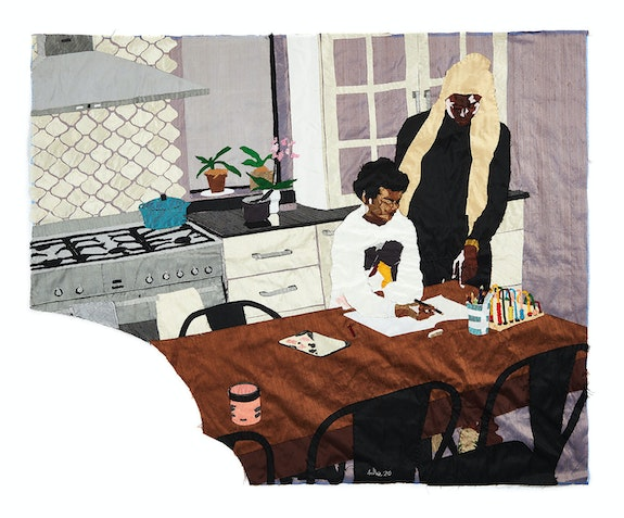 Billie Zangewa, <em>Heart of the Home</em>, 2020. Hand-stitched silk collage, 53 1/2 x 43 1/4 inches. Courtesy the artist and Lehmann Maupin, New York, Hong Kong, Seoul, and London.