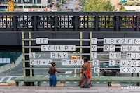 Will Rawls, <em>Uncle Rebus</em>, 2018. High Line, New York. Pictured from left: Trinity Bobo, Jasmine Hearn, Stanley Gambucci. Photo: Liz Ligon. Courtesy the artist.
