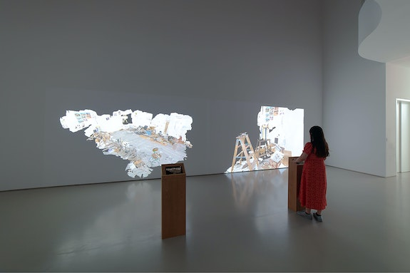 "Bruce Nauman, <em>Nature Morte</em>, 2020. Three 4K video projections and three servers controlled by three iPad Pro 11"", 3D scans of studio, dimensions variable. Courtesy Sperone Westwater. Photo: Robert Vinas, Jr."