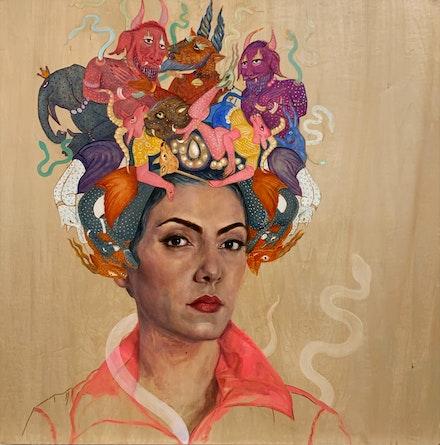 Bahar Sabzevari, <em>Persian Medusa (Crown Series)</em>, 2020. Oil on wood panel, 30 x 30 inches. Courtesy Leila Heller Gallery, New York.