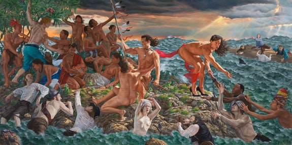 Kent Monkman, <em>Welcoming the Newcomers</em>, 2019. Acrylic on canvas, 132 x 264 inches. Courtesy the artist.