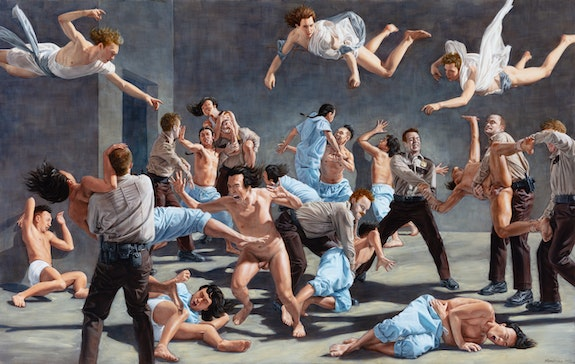 Kent Monkman, <em>The Institution</em>, 2020. Acrylic on canvas, 38 x 60 inches. Courtesy the artist.
