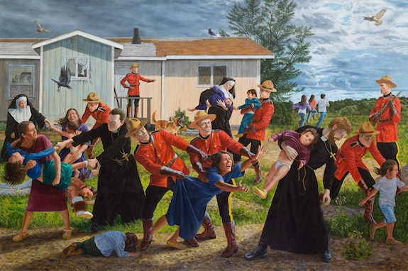 Kent Monkman,<em> The Scream</em>, 2017. Acrylic on canvas, 84 x 126 inches. Collection of the Denver Art Museum. Courtesy the artist.