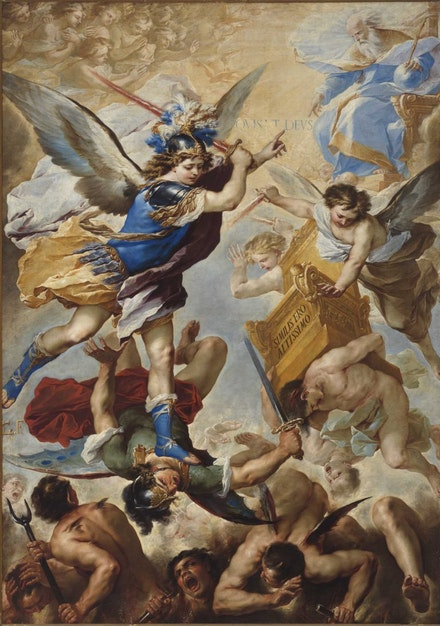 Luca Giordano, <em>Michael the Archangel Driving Out the Rebellious Angels</em>,<em> </em>1657<em>.</em> Courtesy Museo di Capodimonte, Naples.