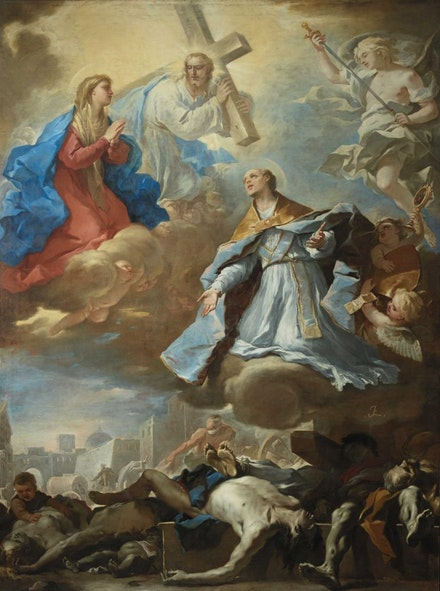 Luca Giordano, <em>Saint Januarius Interceding to the Virgin Mary, Christ and God the Father for Victims of the Plague</em>, 1656<em>. </em>Courtesy Museo di Capodimonte, Naples.