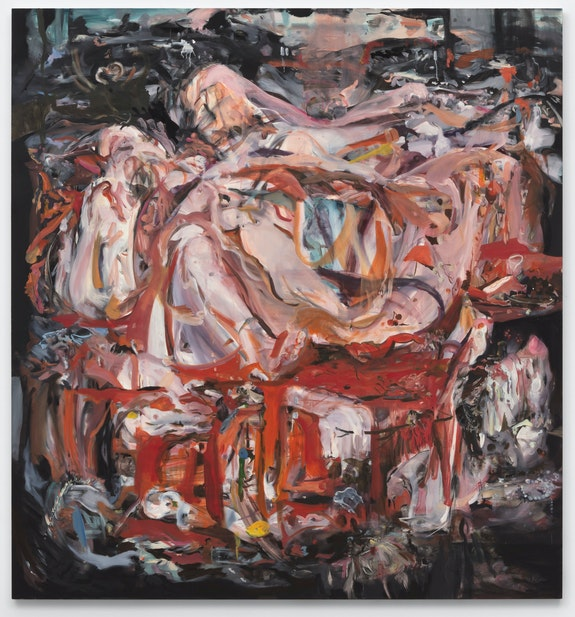 Cecily Brown, <em>When this kiss is over</em>, 2020. Oil on linen, 89 x 83 inches. © Cecily Brown. Courtesy Paula Cooper Gallery, New York. Photo: Steven Probert.