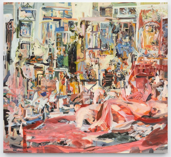 Cecily Brown, <em>Selfie</em>, 2020. Oil on linen, 43 x 47 inches. © Cecily Brown. Courtesy Paula Cooper Gallery, New York. Photo: Steven Probert.
