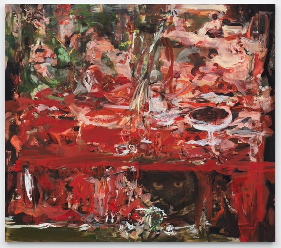 Cecily Brown, <em>Lobsters, oysters, cherries and pearls</em>, 2020. Oil on linen, 59 x 67 inches. © Cecily Brown. Courtesy Paula Cooper Gallery, New York. Photo: Steven Probert.