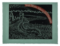 Sue Coe, <em>Lost Whale Swims Up the Thames</em>, 2006. Colored woodcut on natural Kitakata paper, signed and dated, lower right, and numbered, lower left, 15 7/8 x 19 7/8. From an estimated edition of 10 impressions. Courtesy Galerie St. Etienne.