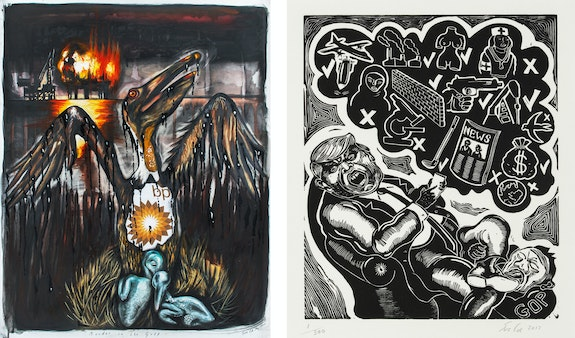 Left: Sue Coe, <em>Murder in the Gulf</em>, 2010. Graphite, gouache, watercolor and oil on heavy white Strathmore Bristol board, 29 x 23 inches. Right: <em>Tweeter in Chief</em>, 2017. Linocut on thin white Rives paper, 11 x 18 1/2 inches. Courtesy Galerie St. Etienne.