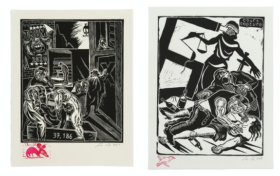 Left: Sue Coe, <em>Cardboard Coffins</em>, 2020. Linocut on paper, 10 1/4 x 8 5/8 inches. Right: <em>Court Capture (Kavanaugh)</em>, 2018. Linocut on off-white Rives paper, 11 1/8 x 8 1/2 inches. Courtesy Galerie St. Etienne.