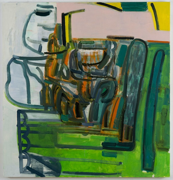 Amy Sillman, <em>Untitled (green)</em>, 2020. Acrylic, ink, and oil on canvas, 51 x 49 inches. © Amy Sillman. Courtesy the artist and Gladstone Gallery, New York and Brussels.