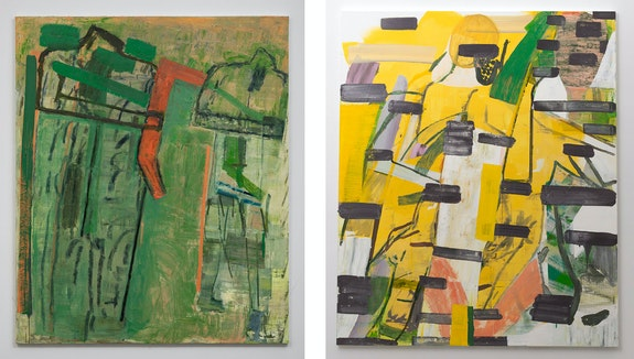 Left: Amy Sillman, <em>Split 4</em>, 2020. Right: <em>Split 3</em>, 2020. Acrylic and oil on linen, 72 x 60 inches each. © Amy Sillman. Courtesy the artist and Gladstone Gallery, New York and Brussels.