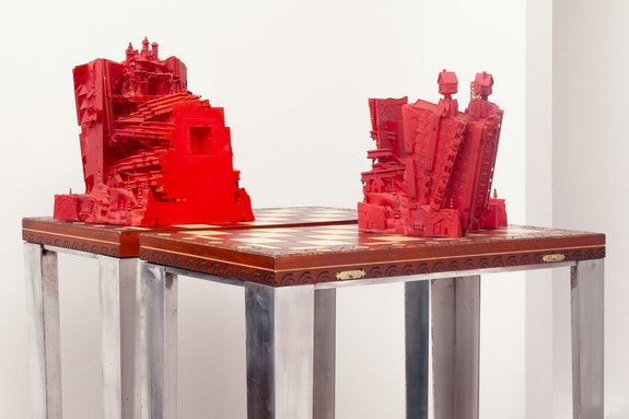Genevieve Goffman, <em>The Winter Commune (City Split, Half 1 & 2)</em>, 2020. Chessboard, Aluminum, Resin, Acrylic, Paint, 59 x 10 x 20 1/2 inches. Courtesy Alyssa Davis Gallery, New York.