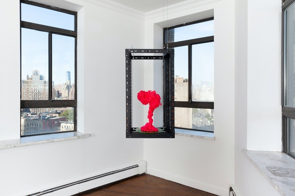 Genevieve Goffman, <em>The Mining Incident (Magenta)</em>, 2020. Steel, uranium glass, blacklight, resin, acrylic paint, 40 x 22 x 17 1/2 inches. Courtesy Alyssa Davis Gallery, New York.