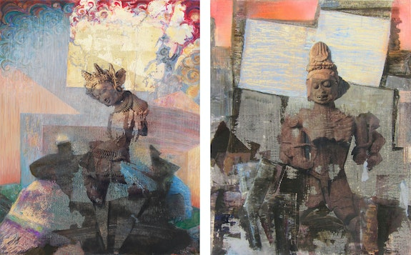 Left: Mary Jones, <em>The Assignment</em>, 2020. Right: <em>The Slayer</em>, 2020. Oil, gel-transfer, spray paint, silver leaf on canvas, 14 x 11 inches each. Courtesy High Noon, New York.