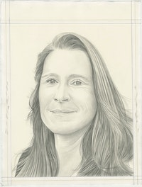 Portrait of Catherine Gund, pencil on paper by Phong H. Bui.