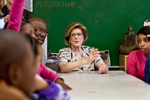 Aggie Gund speaking in a classroom at Studio in a School. Courtesy Aubin Pictures.