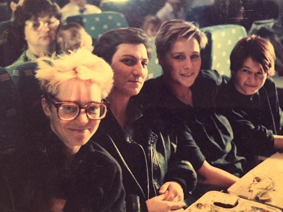 Thyrza Nichols Goodeve with Cathrine Gund, Nathalie Magnan, and Patricia White. Circa 1988. Courtesy Catherine Gund.