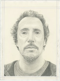 Portrait of Kent Monkman, pencil on paper by Phong H. Bui.